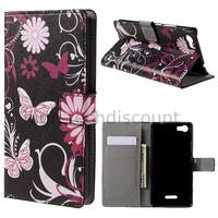Housse etui coque portefeuille PU cuir pour Wiko Fever 4G + film ecran - FLEURS N