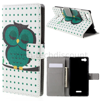 Housse etui coque portefeuille PU cuir pour Wiko Fever 4G + film ecran - HIBOU