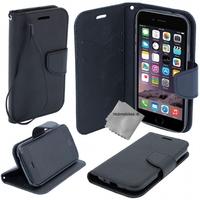 Housse etui coque pochette portefeuille pour Apple iPhone 6 Plus (5.5) + film ecran - NOIR / NOIR