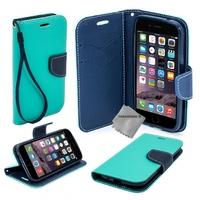 Housse etui coque pochette portefeuille pour Apple iPhone 6 Plus (5.5) + film ecran - BLEU / BLEU