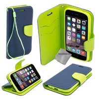 Housse etui coque pochette portefeuille pour Apple iPhone 6S Plus (5.5) + film ecran - BLEU / VERT