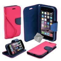 Housse etui coque pochette portefeuille pour Apple iPhone 6 Plus (5.5) + film ecran - ROSE / BLEU
