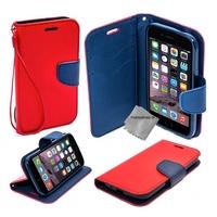 Housse etui coque pochette portefeuille pour Apple iPhone 6 Plus (5.5) + film ecran - ROUGE / BLEU