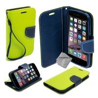 Housse etui coque pochette portefeuille pour Apple iPhone 6 Plus (5.5) + film ecran - VERT / BLEU