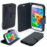 Housse etui coque pochette portefeuille pour Samsung G360H Galaxy Core Prime + film ecran - NOIR / NOIR