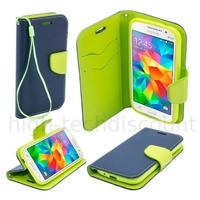 Housse etui coque pochette portefeuille pour Samsung G360H Galaxy Core Prime + film ecran - BLEU / VERT