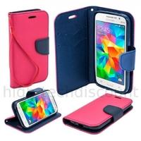 Housse etui coque pochette portefeuille pour Samsung G360H Galaxy Core Prime + film ecran - ROSE / BLEU
