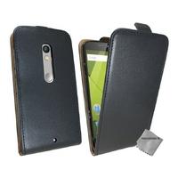Housse etui coque pochette PU cuir fine pour Motorola Moto X Play + film ecran - NOIR