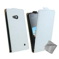 Housse etui coque pochette PU cuir fine pour Microsoft Lumia 550 + verre trempe - BLANC