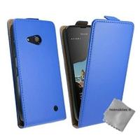 Housse etui coque pochette PU cuir fine pour Microsoft Lumia 550 + verre trempe - BLEU