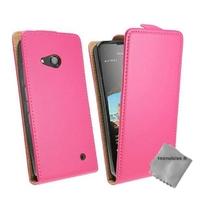 Housse etui coque pochette PU cuir fine pour Microsoft Lumia 550 + verre trempe - ROSE
