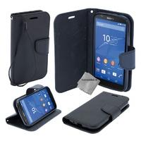Housse etui coque pochette portefeuille pour Sony Xperia M5 Dual + film ecran - NOIR / NOIR