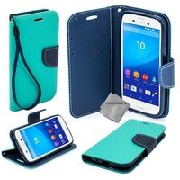 Housse etui coque pochette portefeuille pour Sony Xperia M5 Dual + film ecran - BLEU / BLEU
