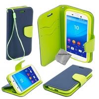 Housse etui coque pochette portefeuille pour Sony Xperia M5 Dual + film ecran - BLEU / VERT