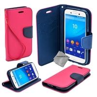 Housse etui coque pochette portefeuille pour Sony Xperia M5 Dual + film ecran - ROSE / BLEU
