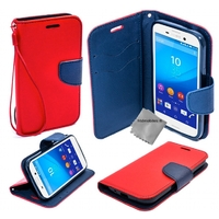 Housse etui coque pochette portefeuille pour Sony Xperia M5 Dual + film ecran - ROUGE / BLEU