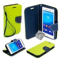 Housse etui coque pochette portefeuille pour Sony Xperia M5 Dual + film ecran - VERT / BLEU
