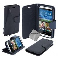 Housse etui coque pochette portefeuille pour HTC Desire 820 + film ecran - NOIR