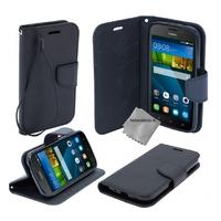 Housse etui coque pochette portefeuille pour Huawei Ascend Y635 + film ecran - NOIR