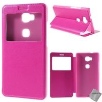 Housse etui coque pochette portefeuille view case pour Huawei Honor 5x + verre trempe - ROSE