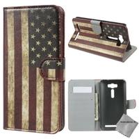 Housse etui coque portefeuille PU cuir pour Asus Zenfone 2 Laser ZE500KL + film ecran - USA