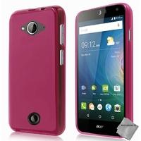 Housse etui coque pochette silicone gel fine pour Acer Liquid Z530s + film ecran - ROSE