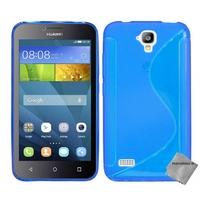 Housse etui coque pochette silicone gel fine pour Huawei Ascend Y5 - Y560 + verre trempe - BLEU