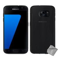 Housse etui coque pochette silicone gel fine pour Samsung G930 Galaxy S7 + film ecran - NOIR