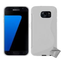 Housse etui coque pochette silicone gel fine pour Samsung G930 Galaxy S7 + verre trempe - BLANC