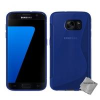 Housse etui coque pochette silicone gel fine pour Samsung G930 Galaxy S7 + verre trempe - BLEU