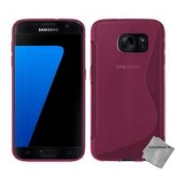 Housse etui coque pochette silicone gel fine pour Samsung G930 Galaxy S7 + verre trempe - ROSE