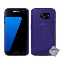Housse etui coque pochette silicone gel fine pour Samsung G930 Galaxy S7 + verre trempe - MAUVE