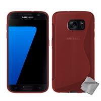 Housse etui coque pochette silicone gel fine pour Samsung G930 Galaxy S7 + verre trempe - ROUGE