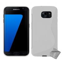 Housse etui coque silicone gel fine pour Samsung G935 Galaxy S7 Edge + film ecran - BLANC