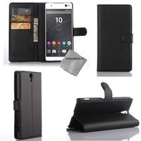 Housse etui coque portefeuille pour Sony Xperia C5 Ultra Dual + film ecran -NOIR