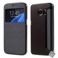 Housse etui coque portefeuille view case pour Samsung G935 Galaxy S7 Edge + film ecran - NOIR