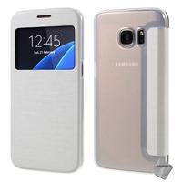 Housse etui coque portefeuille view case pour Samsung G935 Galaxy S7 Edge + film ecran - BLANC