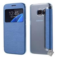 Housse etui coque portefeuille view case pour Samsung G935 Galaxy S7 Edge + film ecran - BLEU