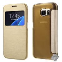 Housse etui coque portefeuille view case pour Samsung G935 Galaxy S7 Edge + film ecran - OR