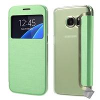 Housse etui coque portefeuille view case pour Samsung G935 Galaxy S7 Edge + film ecran - VERT