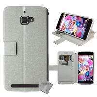 Housse etui coque pochette portefeuille pour Archos Diamond Plus + film ecran - BLANC