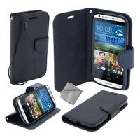 Housse etui coque pochette portefeuille pour HTC Desire 626 + film ecran - NOIR / NOIR