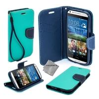 Housse etui coque pochette portefeuille pour HTC Desire 626 + film ecran - BLEU / BLEU