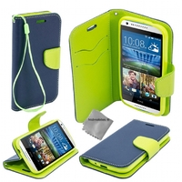 Housse etui coque pochette portefeuille pour HTC Desire 626 + film ecran - BLEU / VERT