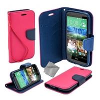 Housse etui coque pochette portefeuille pour HTC Desire 626 + film ecran - ROSE / BLEU