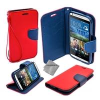 Housse etui coque pochette portefeuille pour HTC Desire 626 + film ecran - ROUGE / BLEU