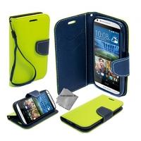 Housse etui coque pochette portefeuille pour HTC Desire 626 + film ecran - VERT / BLEU