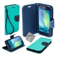 Housse etui coque pochette portefeuille pour Samsung Galaxy A5 (version 2016) + film ecran - BLEU / BLEU