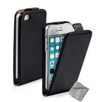 Housse etui coque pochette PU cuir pour Apple iPhone 5 / 5S + film ecran - NOIR
