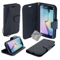 Housse etui coque pochette portefeuille pour Samsung G935 Galaxy S7 Edge + film ecran - NOIR / NOIR